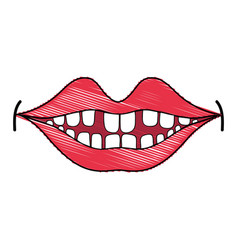 Happy mouth with teeth design icon vector