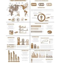 INFOGRAPHIC DEMOGRAPHICS POPULATION 3 BROWN vector image
