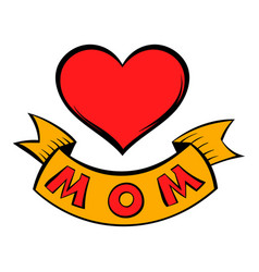 mothers day heart with ribbon icon cartoon vector image vector image