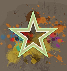 retro star with ink splash on grunge background vector image vector image