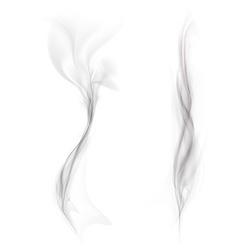 set of black smoke isolated on a white background vector image