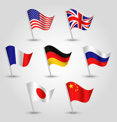 set of waving flags seven great power states vector image vector image