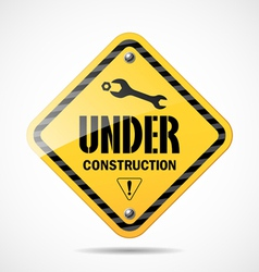 Under construction sign black and yellow vector image