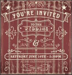 Vintage country wedding invitation vector