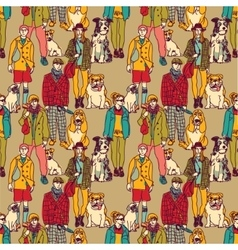 Walking people and dogs color seamless pattern vector image vector image