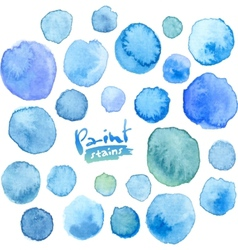 Big set of blue watercolor stains vector image vector image