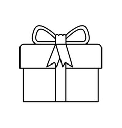 black silhouette of gift box with decorative vector image vector image