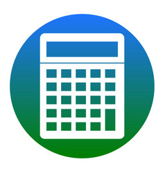 calculator simple sign white icon in vector image