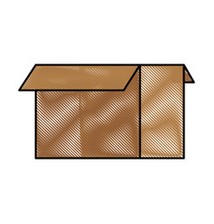 Color blurred stripe image box of cardboard opened vector