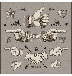Dsign elements - thumb up pointer handshake vector image vector image