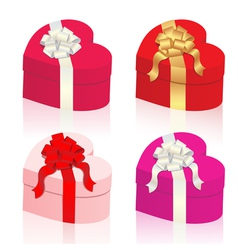 heart shaped gift boxes vector image vector image