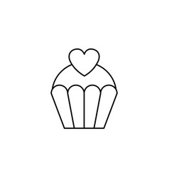 love cake with heart line icon sweets vector image