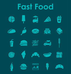 set of fast food simple icons vector image vector image
