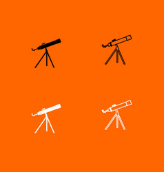 telescope black and white set icon vector image
