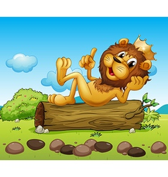 A lion king above a trunk vector image