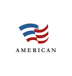 abstract flag logo icon united states america vector image