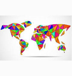abstract world map in geometric polygonal style vector image