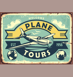 air transport vintage metal sign vector image