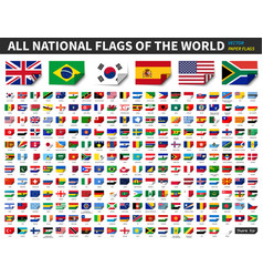 All national flags of the world paper design vector