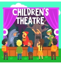 Amateur Children Theatre Performance Of A Red Hood vector