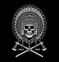 american indian chief skull with crossed tomahawks vector image