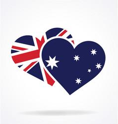 Australia aussie flag in twin heart shape vector