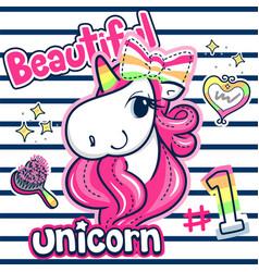 beautiful unicorn girl with pink hair vector image