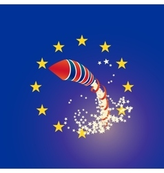 Brexit rocket UK and Euro union flags raining vector