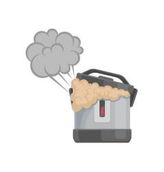 Broken multicooker damaged home appliance vector