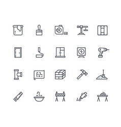 build line icons home construction materials vector image