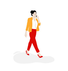 business woman walking on street with phone vector image