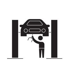 car service center black concept icon car vector image