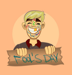Cartoon boy fool s day vector