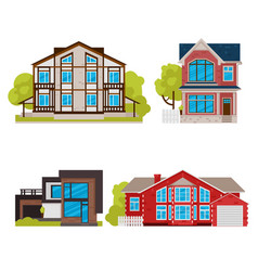 cartoon color residential home buildings icon set vector image