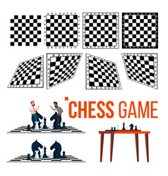 chessboard and character game player set vector image