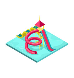 Children water slides isometric 3d element vector