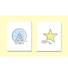 Christmas New Year Holiday Line Icons Set vector image