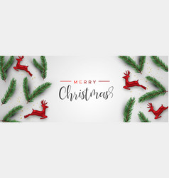 christmas pine tree and red deer ornament banner vector image