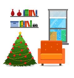 christmas room interior christmas tree wih vector image