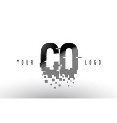 Co c o pixel letter logo with digital shattered vector
