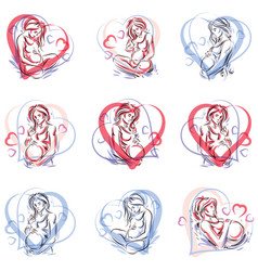 Collection hand-drawn pregnant elegant vector