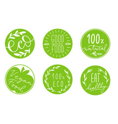 Collection of green circle label with hand-drawn vector