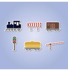 Color icon set with railroad vector