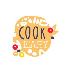 Colorful handmade logo template for cooking food vector