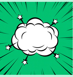 comic cloud or smoke on zoom lines background vector image
