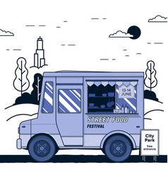 Concept of street food festival purple food truck vector