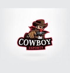 cowboy mascot logo design vector image