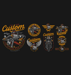 custom motorcycle vintage designs composition vector image