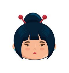 Cute japanese girl face cartoon vector
