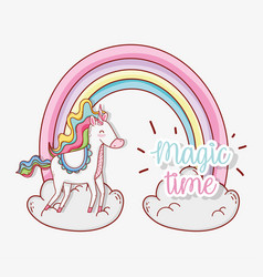 Cute unicorn with horn with rainbow and clouds vector